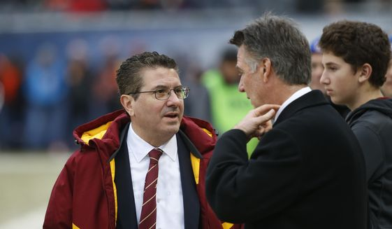 Washington Redskins owner Daniel Snyder, left, talks on the sidelines before an NFL football game against the Chicago Bears, Saturday, Dec. 24, 2016, in Chicago. (AP Photo/Charles Rex Arbogast) **FILE**