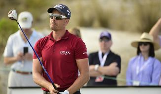 Sweden's Henrik Stenson reacts after hitting from the sixteenth tee during the first round of the Hero World Challenge at the Albany Golf Club in Nassau, Bahamas, Thursday, Nov. 29, 2018. (AP Photo/Dante Carrer)