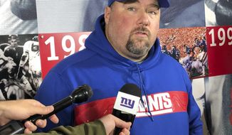 New York Giants defensive coordinator James Bettcher speaks with reporters Thursday, Dec. 29, 2018, in East Rutherford, N.J. The Giants host the Chicago Bears on Sunday.  (AP Photo/Tom Canavan)