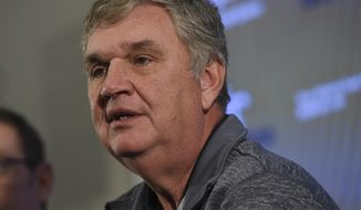 Paul Johnson speaks during a press conference about his retirement, Thursday, Nov. 29, 2018, in Atlanta. Johnson, the longest-serving Georgia Tech NCAA college football coach in a half-century, announced his retirement Wednesday after 11 seasons with the team. (AP Photo/Annie Rice)
