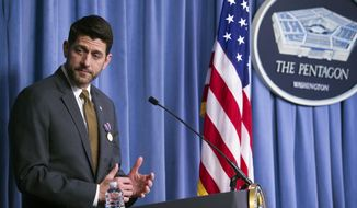 Speaker of the House Paul Ryan, of Wis., speaks after Secretary of Defense Jim Mattis awarded him with the Department of Defense Medal for Distinguished Public Service at the Pentagon, in Washington, Wednesday, Nov. 28, 2018. (AP Photo/Cliff Owen)