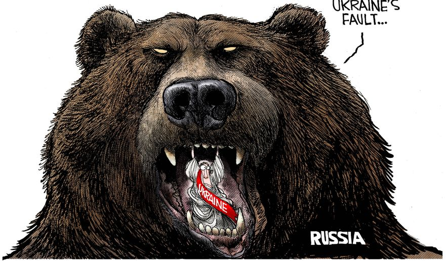 This is all Ukraine's fault ... (Illustration by Michael Ramirez for Creators Syndicate)