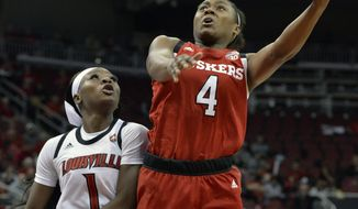 Nebraska guard Sam Haiby (4) shoots next to Louisville guard Dana Evans during the first half of an NCAA college basketball game in Louisville, Ky., Thursday, Nov. 29, 2018. (AP Photo/Timothy D. Easley)