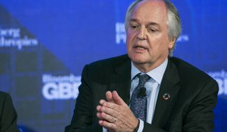 In this Wednesday, Sept. 20, 2017, file photo Unilever CEO Paul Polman speaks at the Bloomberg Global Business Forum in New York. The Anglo-Dutch company announced Polman's retirement by the end of 2018 early Thursday, the announcement comes months after Unilever, under pressure from shareholders, reversed a decision to consolidate its headquarters in Rotterdam.(AP Photo/Mark Lennihan)