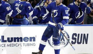 Tampa Bay Lightning left wing Alex Killorn (17) celebrates with the bench after scoring against the Buffalo Sabres during the first period of an NHL hockey game Thursday, Nov. 29, 2018, in Tampa, Fla. (AP Photo/Chris O'Meara)