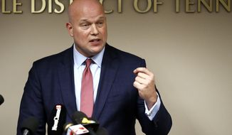 Acting Attorney General Matthew Whitaker speaks about the opioid crisis during a news conference, Thursday, Nov. 29, 2018, in Nashville, Tenn. (AP Photo/Mark Humphrey)