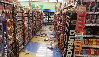 This photo provided by David Harper shows merchandise that fell off the shelves during an earthquake at a store in Anchorage, Alaska, on Friday, Nov. 30, 2018. Back-to-back earthquakes measuring 7.0 and 5.8 rocked buildings and buckled roads Friday morning in Anchorage, prompting people to run from their offices or seek shelter under office desks, while a tsunami warning had authorities urging people to seek higher ground. (David Harper via AP)