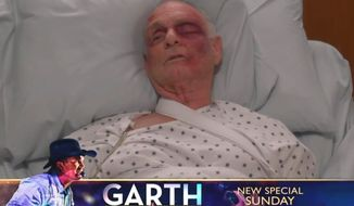 """A character on CBS' """"Murphy Brown"""" lies in a hospital bed after being beaten by a """"sea"""" of MAGA-hat wearing citizens at a """"President Trump"""" rally. The episode, which aired Nov. 29, 2018, was called """"Beat the Press."""" (Image: CBS, """"Murphy Brown"""" screenshot)"""