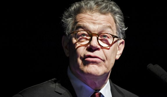 In this Dec. 28, 2017, file photo, outgoing U.S. Sen. Al Franken speaks about his accomplishments and thanks his team in Minneapolis, as his eight years in the Senate are set to come to an end. (Glen Stubbe/Star Tribune via AP, File)