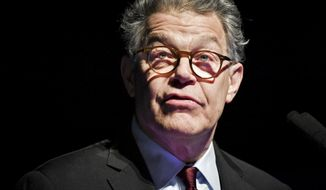 FILE - In this Dec. 28, 2017, file photo, outgoing U.S. Sen. Al Franken speaks about his accomplishments and thanks his team in Minneapolis, as his eight years in the Senate are set to come to an end. The former senator is taking his first tentative steps back into the public arena after resigning under amid a string of sexual misconduct allegations. Franken has kept a low public profile since leaving office last January. But he addressed his supporters in a Facebook message on Thanksgiving Day, saying that while he's not running for anything, he hopes in the coming year for the chance to help make a difference again. (Glen Stubbe/Star Tribune via AP, File)