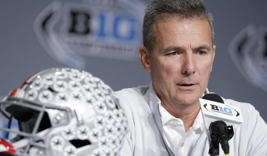 Ohio State head coach Urban Meyer speaks during a news conference for the Big Ten Conference championship NCAA college football game, Friday, Nov. 30, 2018, in Indianapolis. Northwestern will play Ohio State on Saturday for the championship. (AP Photo/Darron Cummings)