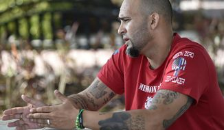 This May 1, 2018 photo shows Jose Belen in Altamonte Springs, Fla.  Belen of Lake Mary left the military with a PTSD diagnosis in 2005, but he kept it quiet.  Military veterans lobbying for an end to federal classification of marijuana as a lethal substance with no redeeming medicinal value may be closer to that goal than ever before, given the midterm election results.  Between the Democratic takeover of the House of Representatives, the forced resignation of Attorney General Jeff Sessions, and a federal lawsuit led by a 12-year-old girl with epilepsy, the cannabis prohibition drama is set to unfold on multiple fronts.  (Thomas Bender/Sarasota Herald-Tribune via AP)