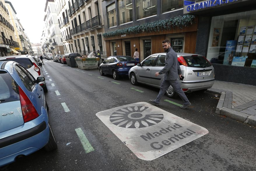 """Madrid's 7-month-old """"congestion pricing"""" program, imposed under a liberal government, was suspended until further notice as one of the first acts of the conservative administration of Mayor Jose Luis Martinez-Almeida. (Associated Press/File)"""