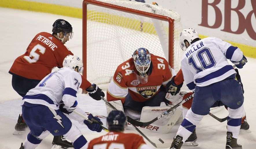 Florida Panthers goaltender James Reimer (34) defends the goal against the Tampa Bay Lightning during the first period of an NHL hockey game on Saturday, Dec. 1, 2018, in Sunrise, Fla. (AP Photo/Terry Renna)