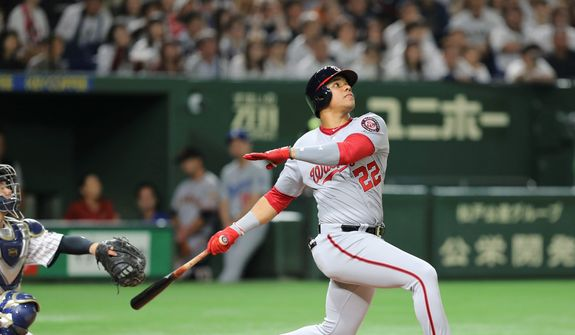 Washington Nationals outfielder Juan Soto capped off his stellar rookie season by touring Japan with a group of major leaguers in November. (ASSOCIATED PRESS)
