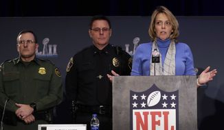 The NFL's Cathy Lanier speaks during a security news conference with law enforcement in advance of the Super Bowl 52 football game, Wednesday, Jan. 31, 2018, in Minneapolis. The Philadelphia Eagles play the New England Patriots on Sunday, Feb. 4, 2018. (AP Photo/Matt Slocum) **FILE**