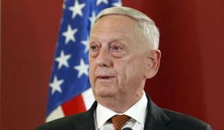 Then-U.S. Defense Secretary James Mattis talks to the media in presence of Macedonian Prime Minister Zoran Zaev following their meeting at the government building in Skopje, Macedonia, Monday, Sept. 17, 2018. (AP Photo/Boris Grdanoski) ** FILE **