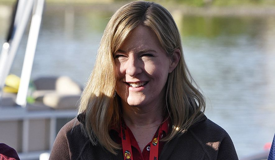 In this May 13, 2017 file photo, Minnesota state Rep. Melissa Hortman is seen at the start of the 2017 Governor's Fishing Opener in St. Cloud, Minn. Hortman, the incoming Democratic speaker, says one of the first things she'll do when she takes over is order the master mute button removed that has been used in the chamber to silence debate. The Republican leadership quietly had the button installed on the back of the rostrum during a renovation of the House chamber after the 2015 session came to a raucous end. (Dave Schwarz/The St. Cloud Times via AP, File)