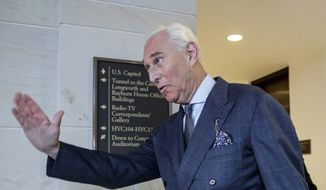 In this Sept. 26, 2017, file photo, President Donald Trump associate Roger Stone arrives to testify before the House Intelligence Committee, on Capitol Hill in Washington. (AP Photo/J. Scott Applewhite, File)