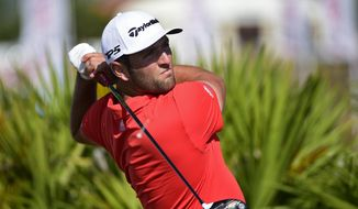 Spain's Jon Rahm hits from the fourth tee during the last round of the Hero World Challenge at Albany Golf Club in Nassau, Bahamas, Sunday, Dec. 2, 2018. (AP Photo/Dante Carrer)