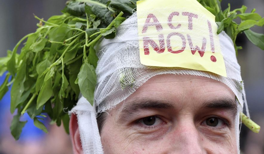 A demonstrator wears a headband stuffed with greens and a sign which reads 'act now' during a 'Claim the Climate' march in Brussels, Sunday, Dec. 2, 2018. The climate change conference, COP24, will take place in Poland from Dec. 2-14. (AP Photo/Geert Vanden Wijngaert)