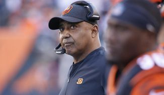 Cincinnati Bengals head coach Marvin Lewis works the sidelines in the first half of an NFL football game against the Denver Broncos, Sunday, Dec. 2, 2018, in Cincinnati. (AP Photo/Frank Victores)