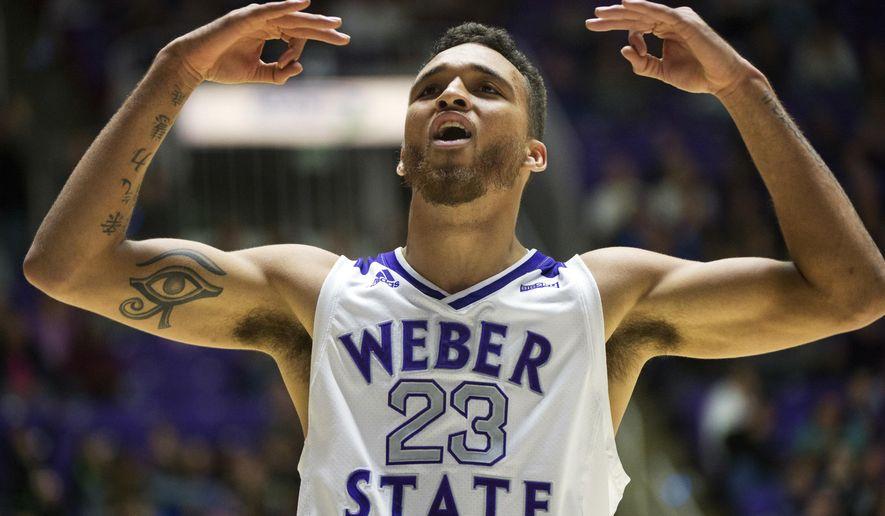 Weber State forward Brekkott Chapman (23) celebrates after sinking a 3-point shot against BYU during an NCAA college basketball game, Saturday, Dec. 1, 2018, in Ogden, Utah. (Rick Egan/The Salt Lake Tribune via AP)