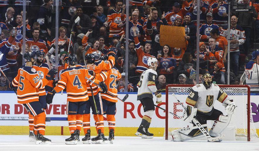 Edmonton Oilers celebrate a goal against the Vegas Golden Knights a614d98fe