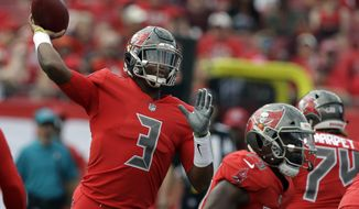 Tampa Bay Buccaneers quarterback Jameis Winston (3) throws a pass during the first half of an NFL football game against the Carolina Panthers Sunday, Dec. 2, 2018, in Tampa, Fla. (AP Photo/Chris O'Meara)
