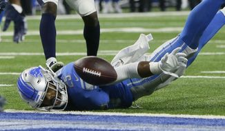 Detroit Lions running back Theo Riddick loses control of the ball at the end zone during the second half of an NFL football game against the Los Angeles Rams, Sunday, Dec. 2, 2018, in Detroit. (AP Photo/Duane Burleson)