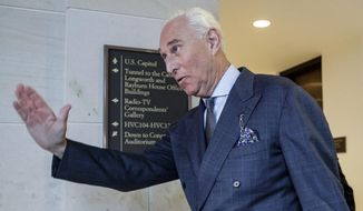 "FILE - In this Sept. 26, 2017, file photo, President Donald Trump associate Roger Stone arrives to testify before the House Intelligence Committee, on Capitol Hill in Washington. The top Democrat on the House intelligence committee says former Trump adviser Roger Stone's testimony should be provided to special counsel Robert Mueller to consider potential perjury charges. Rep. Adam Schiff said Sunday on ABC's ""This Week"" that emails between Stone and an associate, Jerome Corsi, are ""inconsistent"" with Stone's testimony.  (AP Photo/J. Scott Applewhite, File)"