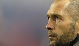 FILE - This Nov. 11, 2018, file photo shows Columbus Crew head coach Gregg Berhalter before a soccer game against the New York Red Bulls in Harrison, N.J. Berhalter has been hired to coach the U.S. men's national team, making him the first person to run the team after playing for the Americans at the World Cup. (AP Photo/Adam Hunger, File)