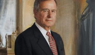 A detail from a portrait of George H.W. Bush displayed inside the George H.W. Bush Library and Museum. (Associated Press)