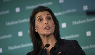 U.S. Ambassador Nikki Haley speaks during the Hudson Institute's 2018 Award Gala Monday, Dec. 3, 2018, in New York. Haley received the Global Leadership Award for her contributions as a champion of human rights and strong American leadership abroad. (AP Photo/Kevin Hagen)