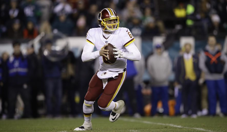 Washington Redskins' Mark Sanchez during the second half of an NFL football game against the Philadelphia Eagles, Monday, Dec. 3, 2018, in Philadelphia. (AP Photo/Matt Rourke)