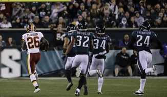 Washington Redskins' Adrian Peterson (26) runs for a touchdown during the first half of an NFL football game against the Philadelphia Eagles, Monday, Dec. 3, 2018, in Philadelphia. (AP Photo/Michael Perez)