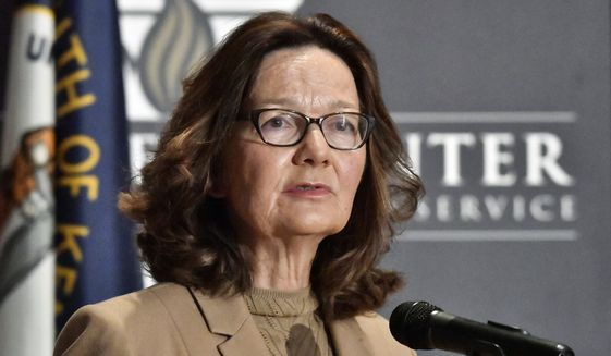 In this Sept. 24, 2018, file photo, CIA Director Gina Haspel addresses the audience in Louisville, Ky. Haspel is headed to Capitol Hill to brief Senate leaders Tuesday, Dec. 4, 2018, on the slaying of Saudi journalist Jamal Khashoggi as senators weigh their next steps in possibly punishing the longtime Middle East ally over the killing. (AP Photo/Timothy D. Easley, File)