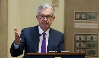 In a Thursday, Nov. 29, 2018, file photo, Federal Reserve Chairman Jerome Powell addresses the Federal Reserve Board's 15th annual College Fed Challenge Finals in Washington. (AP Photo/Cliff Owen, File)