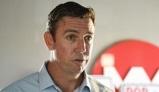 In this Tuesday, Nov. 6, 2018, file photo Rep. Duncan Hunter, R-Calif., speaks during an interview at a call center on in Santee, Calif. (AP Photo/Denis Poroy, File)