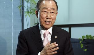 Former U.N. Secretary-General Ban Ki-moon speaks during an interview with the Associated Press in Tokyo, Monday, Dec. 3, 2018. Ban has urged North Korean leader Kim Jong Un to take concrete steps toward complete denuclearization and gain the trust of the international community if he wants sanctions lifted. (AP Photo/Koji Sasahara)