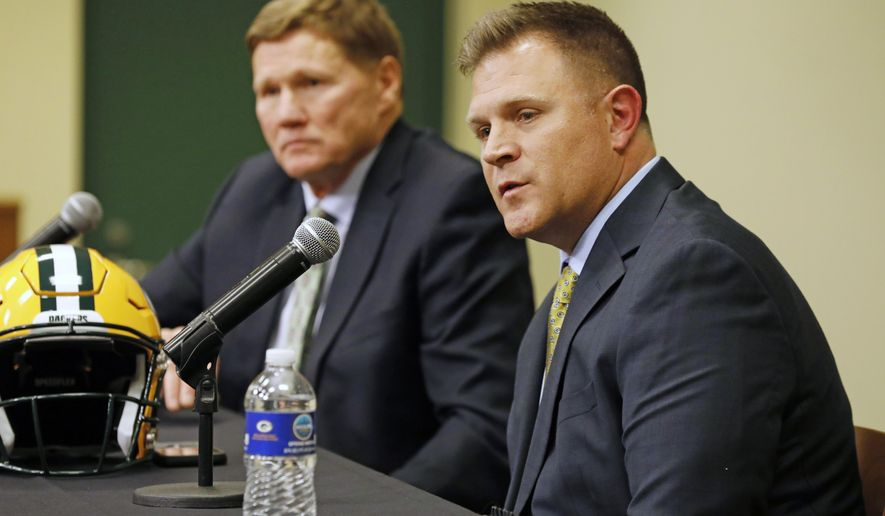 Green Bay Packers' general manager Brian Gutekunst, right, speaks as team president Mark Murphy looks on during a press conference at Lambeau field in Green Bay, Wisc., Monday, Dec. 3, 2018. The Packers fired head coach Mike McCarthy after a loss to the Arizona Cardinals on Sunday. (AP Photo/Mike Roemer)