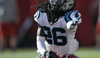 Carolina Panthers cornerback Donte Jackson (26) makes contact with Tampa Bay Buccaneers wide receiver Bobo Wilson (85) during the second half of an NFL football game Sunday, Dec. 2, 2018, in Tampa, Fla. Jackson was called for pass interference giving the Buccaneers the ball on the one-yard line. (AP Photo/Jason Behnken)