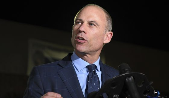 Michael Avenatti speaks to the media outside the Los Angeles Police Department Pacific Division after posting bail for a felony domestic violence charge.  (AP Photo/Michael Owen Baker) **FILE**