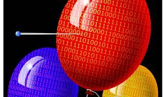 Illustration on cyber-warfare by Alexander Hunter/The Washington Times