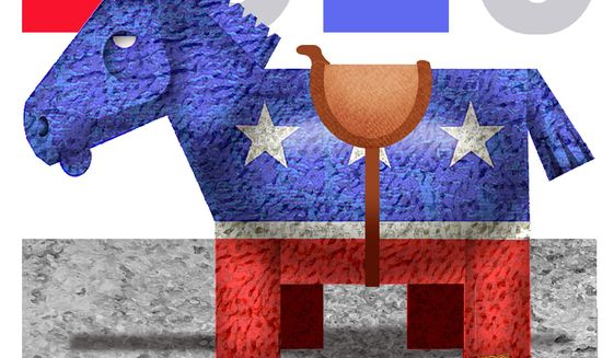 Illustration on potential Democrat presidential candidates by Alexander Hunter/The Washington Times