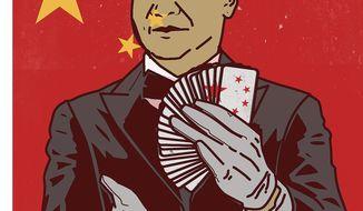 Illustration on Chinese General Secretary Xi by Linas Garsys/The Washington Times