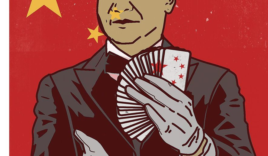 Illustration on Chinese General Secretary Xi by Linas Garsys/The Washington Times