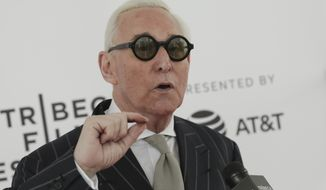 "Political consultant Roger Stone attends a screening of ""Get Me Roger Stone"" at the SVA Theatre during the 2017 Tribeca Film Festival on Sunday, April 23, 2017 in New York. (Photo by Brent N. Clarke/Invision/AP)"