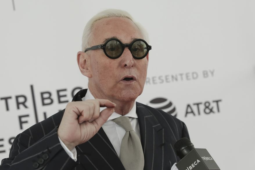 "Political consultant Roger Stone attends a screening of ""Get Me Roger Stone"" at the SVA Theatre during the 2017 Tribeca Film Festival on Sunday, April 23, 2017, in New York. (Photo by Brent N. Clarke/Invision/AP) ** FILE **"
