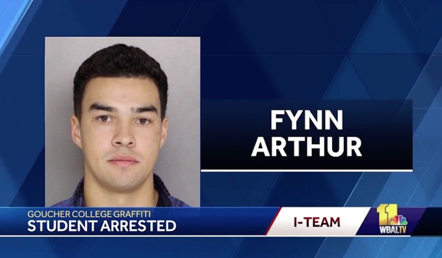 Fynn Arthur, a 21-year-old biracial student at Goucher College near Baltimore, has been charged after confessing to targeting himself and several other black students with racist graffiti, police said. (WBAL)